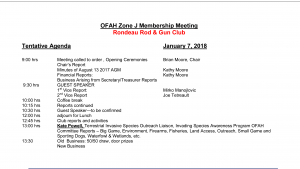 OFAH Zone J January Membership meeting @ Rondeau Rod & Gun Club | Chatham-Kent | Ontario | Canada