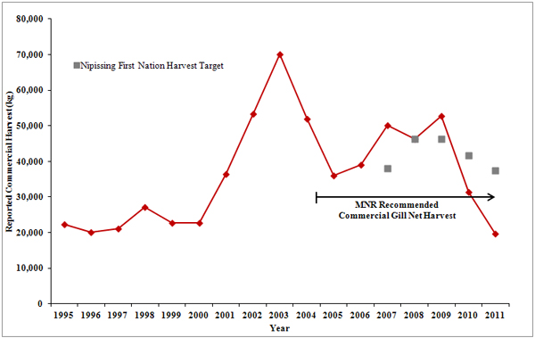 """Reported"" Commercial Gill Net Harvest with First Nation Harvest Targets & MNR Recommended Quota"