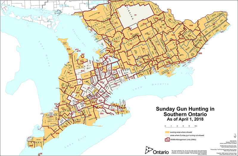 Sunday Gun Hunting Ontario Federation Of Anglers And Hunters - Map of ontario