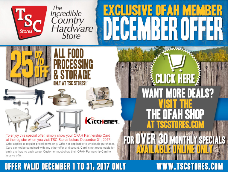 TSC Stores - December Special for OFAH Members